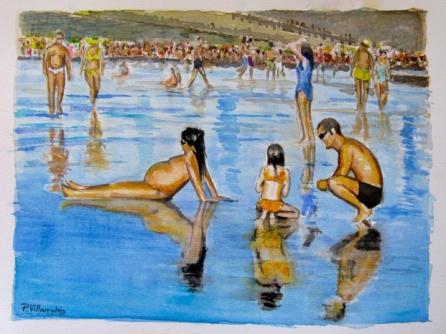 P. Villarrubia. Acuarela. Familia en la Playa de las Canteras