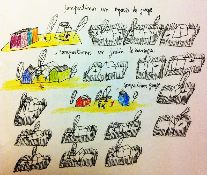 """Promoción de vivienda cooperativa y cohousing. Ilustración de Hernan Lleida Ruiz para """"Postsuburbia"""" (2013, Ed. Comanegra)"""